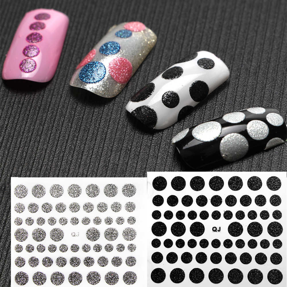 1Pcs Cirkel Stippen Glitter 3d Nail Sticker Polka Dot Design Shiny Nail Decoratie Decal Diy Transfer Lijm Kleurrijke Nail tips