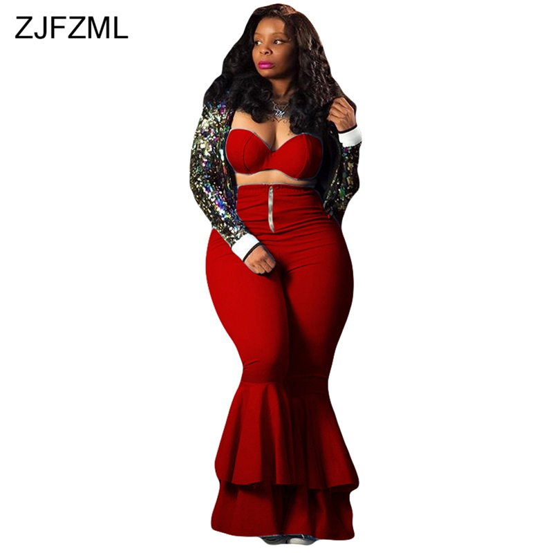 ZJFZML Plus Size Sexy Two Piece Matching Set Women Strapless Off Shoulder Crop Top+Zipper Ruffles Bodycon Falre Long Pant Outfit