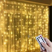 Weihnachten Girlande LED Fee Lichter Vorhang String Lichter Fernbedienung Wohnkultur Neue Jahr 2022 Weihnachten Dekorationen für Haus