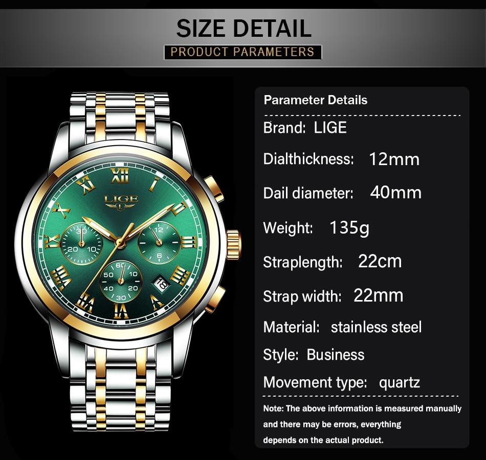 Hbc6ecd4687ab4e5492ba694d4a4dc32em Relojes Hombre LIGE New Watches Men Luxury Brand Chronograph Male Sport Watches Waterproof Stainless Steel Quartz Men Watch