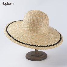Handmade Weave letter Sun Hats For Women Up Large Brim Straw Hat Outdoor Beach hat UV Protection Black border Summer Caps