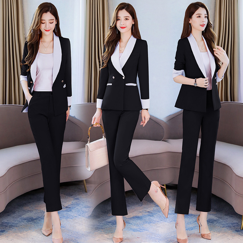 Business women's suits pants suit high quality 2019 new autumn slim long-sleeved pink blazer female Office long sleeve two-piece 31