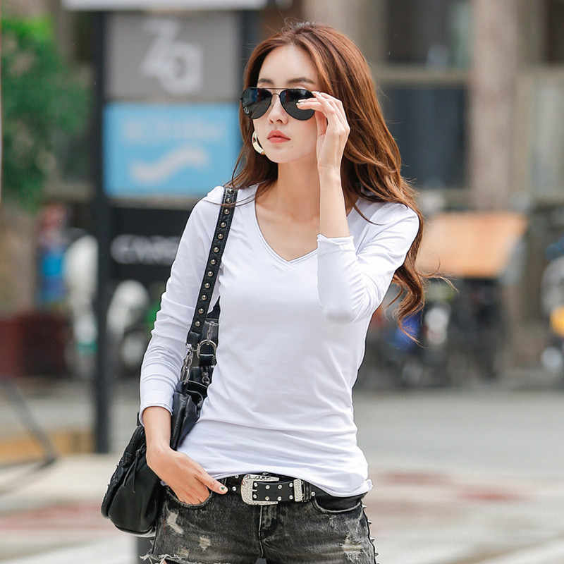 2020 Nieuwe Mode Femalet-Shirt Vrouwen Herfst Katoen Effen Lange Mouwen Tops Slim Casual V-hals Blue Womens T-shirts WXF576