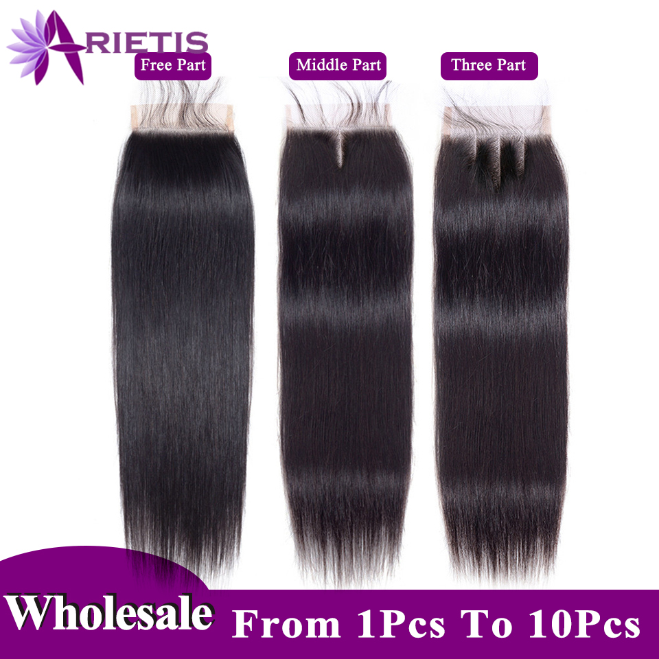 Arietis Hair 4x4 Lace Closure 100% Human Hair Closure Brazilian Hair Weaving Natural Color Remy Hair Straight Frontal Closure