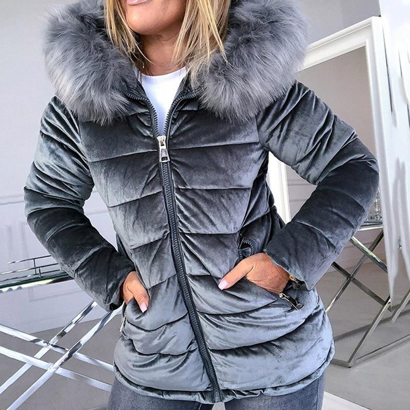 Winter Velvet Jacket Women Warm Cotton Padded Jackets Gray Pink Hood Fur Collar Fashion Basic Outerwear Woman Coat Plus Size 4XL