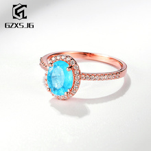 GZXSJG Paraiba Tourmaline Gemstones Ring for Women Solid 925 Sterling Silver  Oval 6x8mm Handmade Ring for Anniversary Size 10
