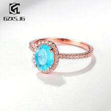 Gzxsjg Paraiba Toermalijn Edelstenen Ring Voor Vrouwen Solid 925 Sterling Zilveren Ovale 6X8 Mm Handgemaakte Ring Voor Verjaardag maat 10