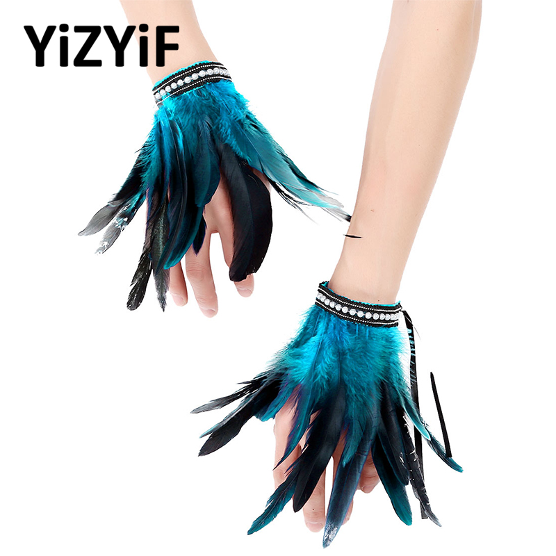 Feather Wrist Cuffs Arm Cuffs Gothic Punk Faux Pearl/Lace Real Natural Dyed Rooster Feather Wrist Cuffs Party Halloween Costume