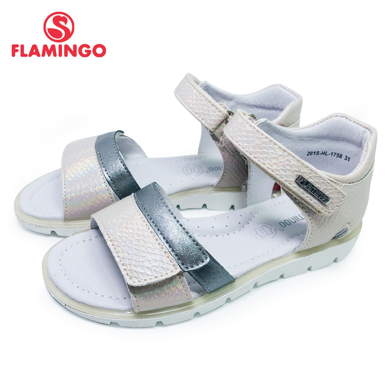 FLAMINGO 2020 Summer Kids Sandals Hook& Loop Flat Arched Design Chlid Casual Princess Shoes Size 31-36# For Girls 201S-HL-1758