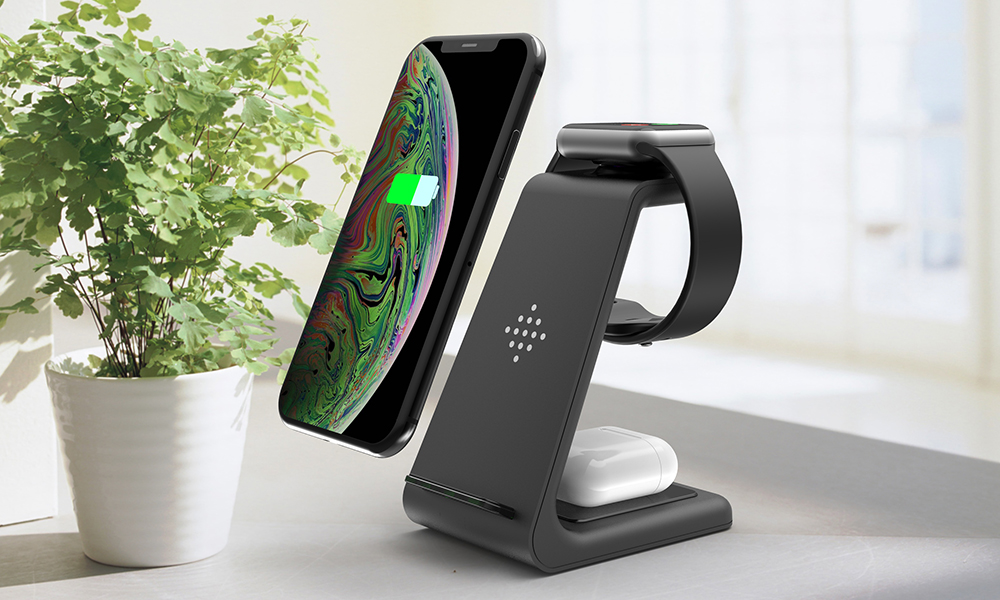 Bonola Qi 3 in1 Wireless Charging Station For iPhone11ProXrXsAirPods ProiWatch5 4 Wireless Charger For SamsungS10BudsWatch (14)