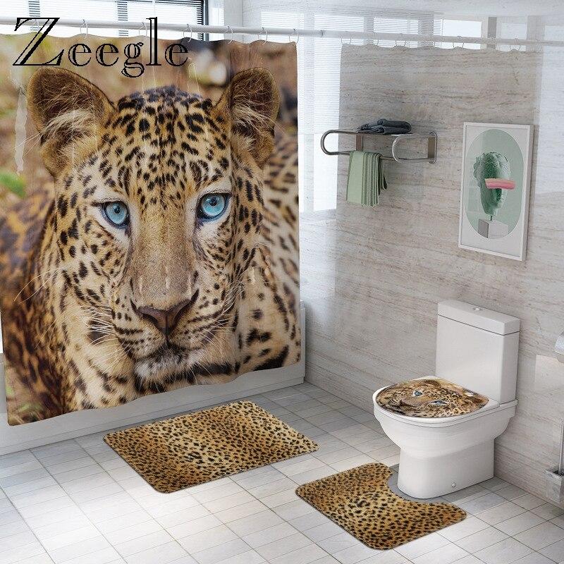 Animal Fur Leopard Shower Curtain Bath Mat Set Soft Bath Carpet for Bathroom Funny Cover Toilet Seat Waterproof Bathroom Curtain