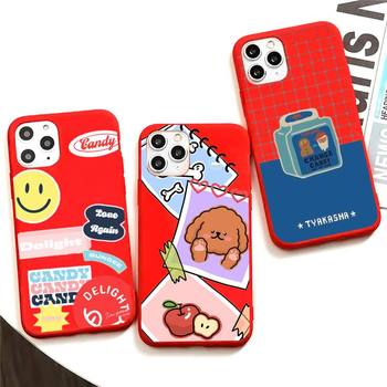 Smile Stickers Phone Case For Iphone X Case Pure Red Soft Silicone Phone Case For SE&11 Pro Max image