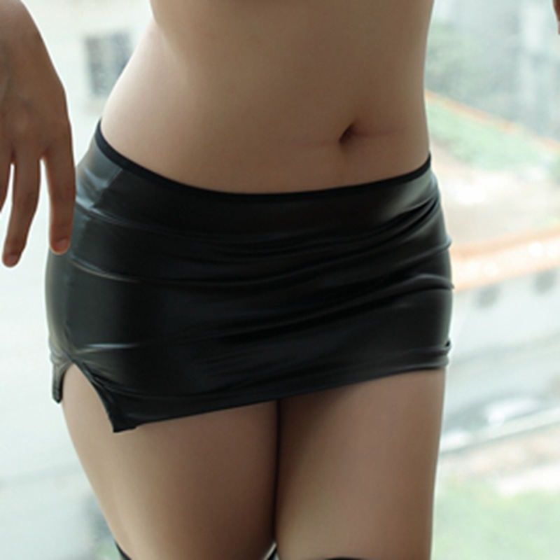 Sexy PU Low-waisted Pencil Cute Tight Micro MINI Skirt Side Slit Pack Hip Latex Skirt Club Dance Stage Wear