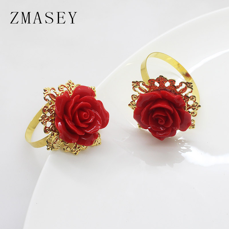 Metal Napkin Ring, Rose Embellishment Decoration, 4/6Pcs, Suitable For Wedding Dinner, Table Party DIY Handmade