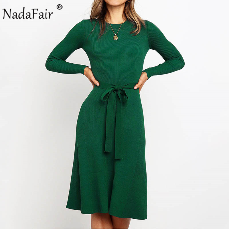 Nadafair Autumn Long Sleeve Casual Solid Tunic Knitted Dress Winter Belt Lace Up Bodycon Elegant Midi Sweater Dress Women