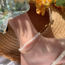 crystal Women 2019 Women Anklets Simple Barefoot Sandals Foot Jewelry Two Layer Foot Legs Bracelet Anklets pendant anklets barefoot sandals beads indian gold silver beads sequins anklets bracelet for women jewelry foot chain anklets