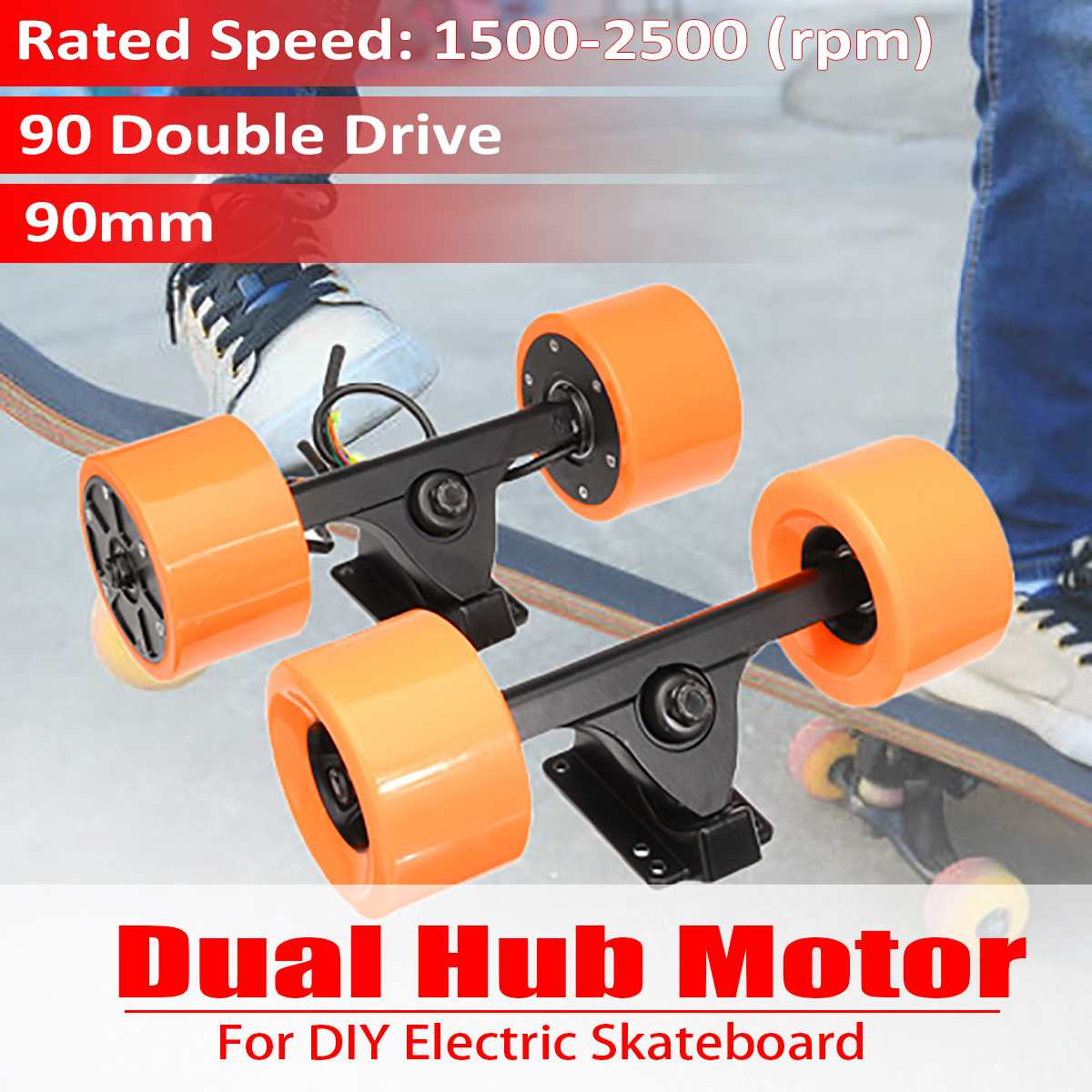 Professional 90mm 600W Dual Drive Electric Skateboard Hub Motor Kit DC Brushless Remote Controll Scooter Drive Hub Motor