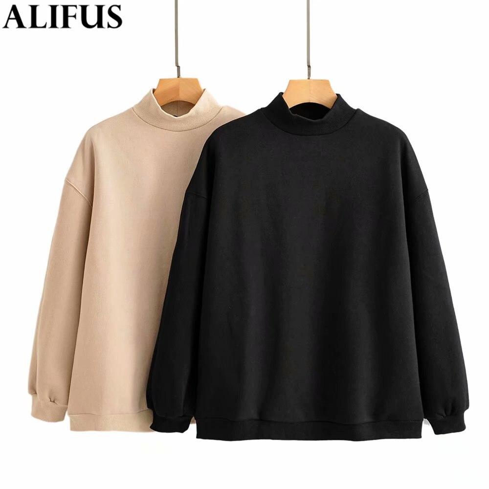 Fashion Za Women 2019 Autumn Casual Solid Velvet Sweatshirt Long Sleeve O-Neck Pullovers Korean Style Female Ladies Loose Tops