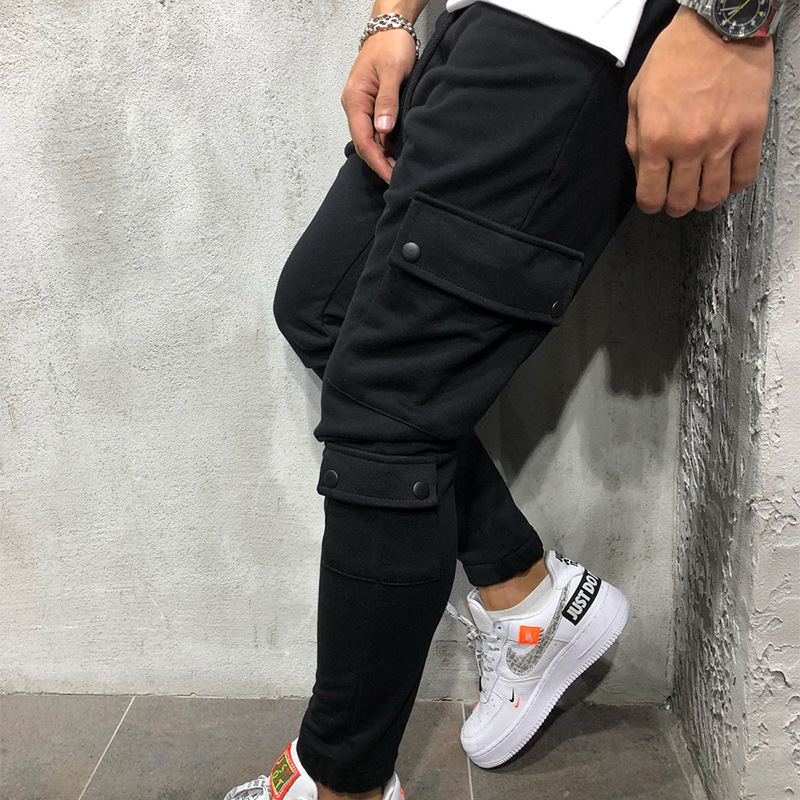 Brand Men Pants Fashion Mult-Pockets Decoration Splicing Harem Joggers Men Pants Male Casual Trousers GYMs Fitness Pencil Pants