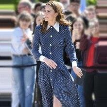 Kate middleton 2019 outono nova europa e américa alta qualidade designer de moda fio líquido dot festa ocasião oficial azul mulher