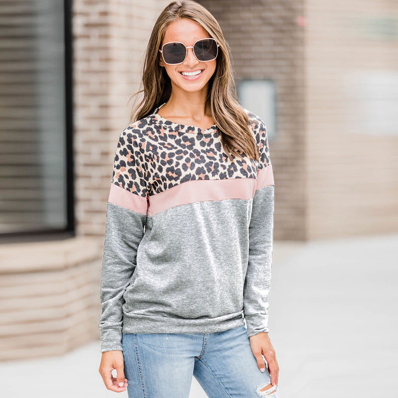 2019 Autumn Sweatshirt Women Fashion Leopard Print Patchwork Hoodie Casual Striped Long Sleeve Pullover Ladies O Neck Top