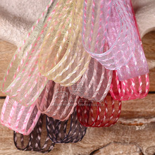 100yards 16 25 38mm stitched stripes organza sheer ribbon for bouquet flower packing bow wedding party decoration supplies цена
