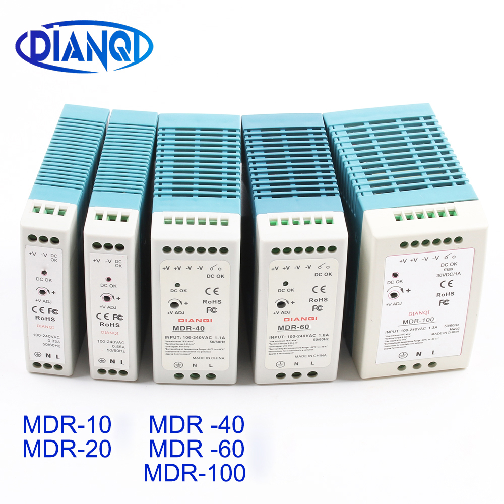 Din rail <font><b>power</b></font> <font><b>supply</b></font> switch MDR-10W 20W 40W 60W 100W <font><b>5V</b></font> 12V 15V 24V 36V 48V output DIANQI Switching <font><b>5V</b></font> 12V 15V 24V 36V 48V image