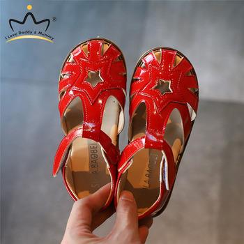 Nowe dziewczęce sandały letnie miękkie PU skórzane czerwone czarne księżniczki dziecięce dziecięce buty sandały gumowe antypoślizgowe dziecięce sandały Sandalias tanie i dobre opinie I LOVE DADDY MUMMY Skóra bydlęca 25-36m 7-12y 14cm 14 5cm 15cm 16cm 17cm 17 5cm 18cm CN (pochodzenie) Lato GLADIATORKI