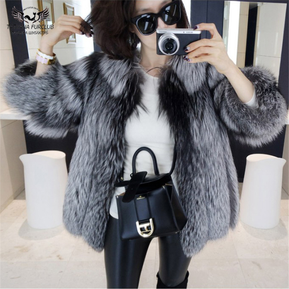 Tatyana Furclub Natural Silver Fox Fur Coat Short Real Fur Coats Warm Ladies Fur Jacket Winter Overcoat Vintage Women's Fur Coat