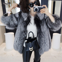 Tatyana Furclub Natural Silver Fox Fur Coat Short Real Coats Warm Ladies fur Jacket Winter Overcoat vintage Womens