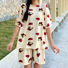 Pajamas women's summer suit short-sleeved two-piece loose Korean style fresh student cute ins style home