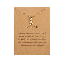 New Fashion Animal Pet Lovely Silver Gold Necklace Tiny Cute Cat Pendants Necklaces Jewelry For Women Best Gift