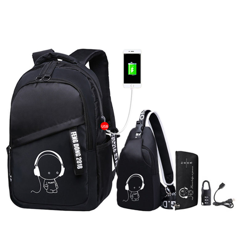 2020 New School Bags For Teenage Boys Children Bookbag Set Kids Primary School Backpack Waterproof Schoolbag Mochila Black