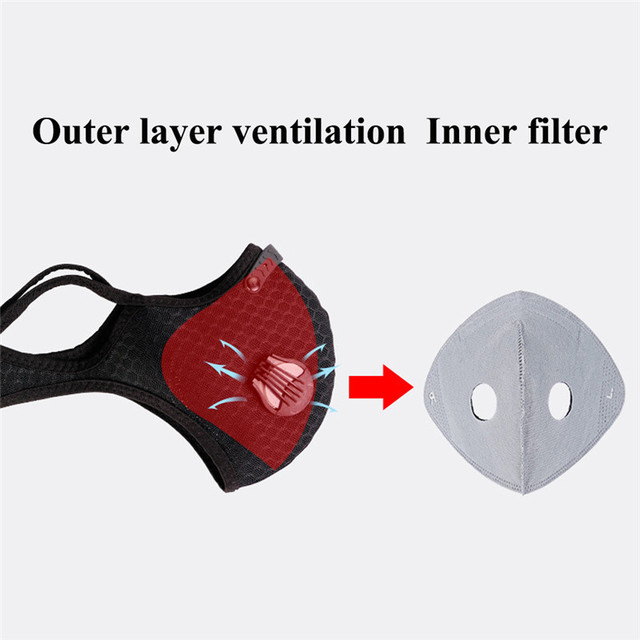 2Pcs masques Anti Face Mask for Mouth Caps Mask With Filter pm2.5 Black Reusable Respirator Protection Wholesale Protective PM25 3