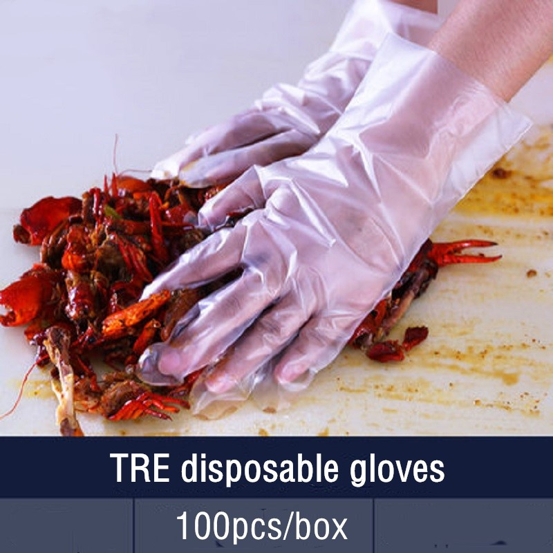 100 Pieces Disposable Gloves With Super Elasticity TPE Thicker Material Tear-proof Soft Kitchen Cleaning