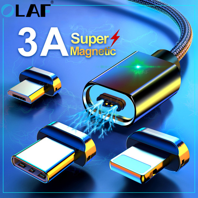 2M Magnetic Micro USB Cable For iPhone Samsung Fast Charging Data Wire Cord Magnet Charger USB Type C 3A 1