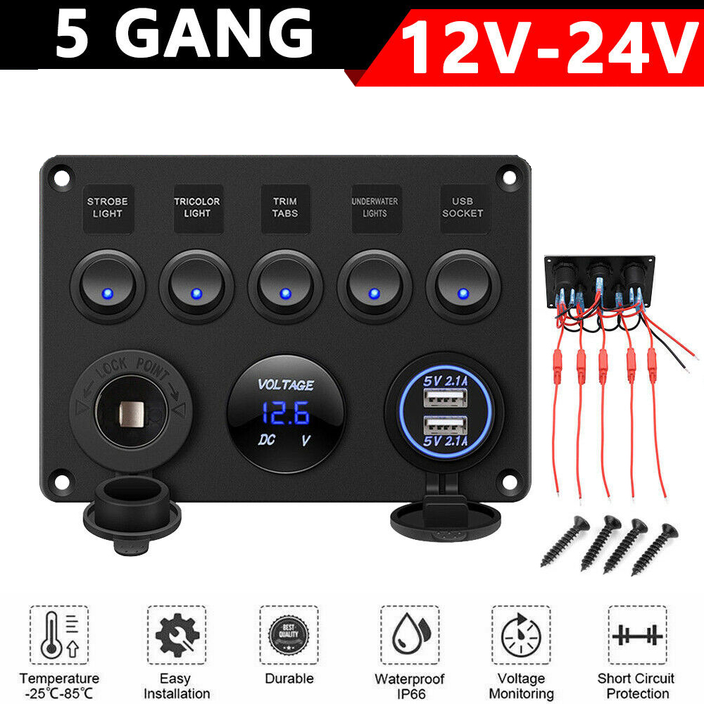 [FPER_4992]  5 Gang Inline Fuse Box LED Switch Control Panel Dual With Digital Voltmeter  USB Charger 12V For Truck Car RV Marine Boat Camper|Car Switches & Relays|  - AliExpress | Dc Fuse Box For Camper |  | www.aliexpress.com