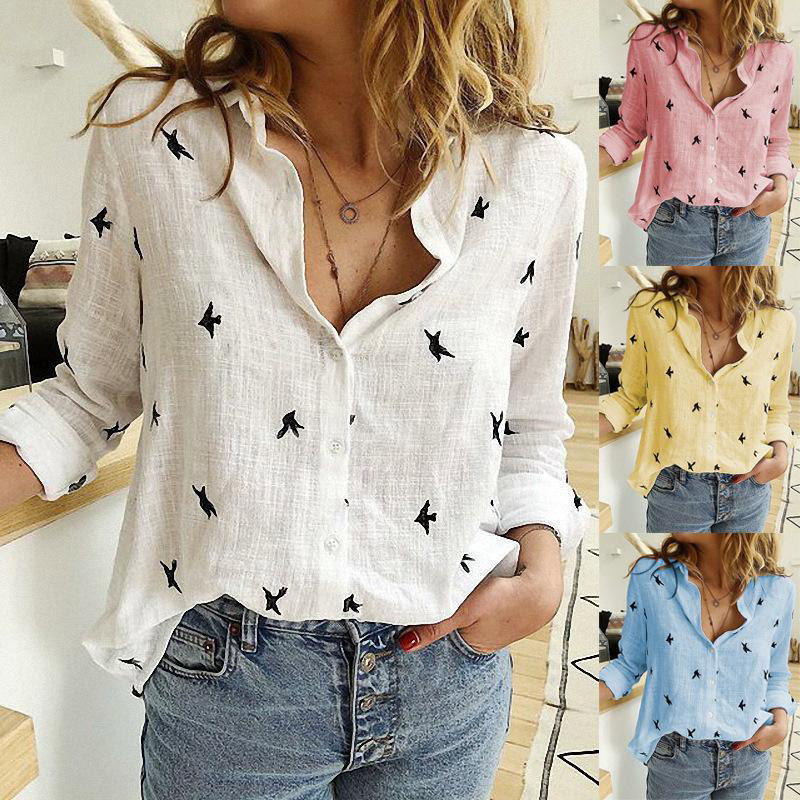 Women's Birds Print Shirts 35% Cotton Long Sleeve Female Tops 2020 Spring Summer Loose Casual Office Ladies Shirt Plus Size 5XL(China)