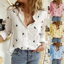 Women's Birds Print Shirts 35% Cotton Long Sleeve Female Tops 2020 Spring Summer