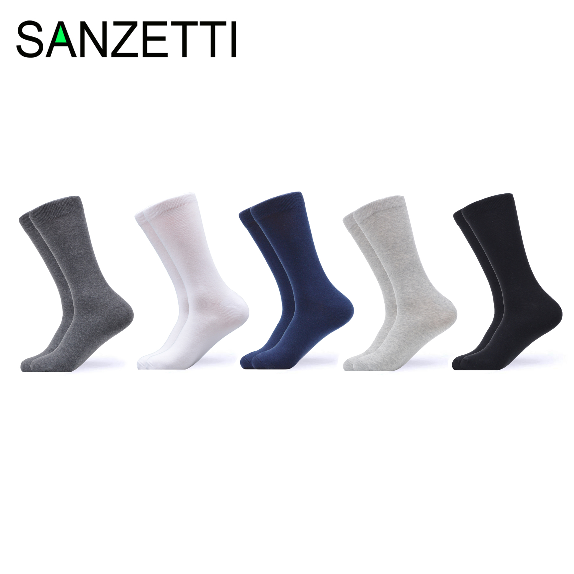 SANZETTI 2020 New Business Men Socks Calcetines Hombre Solid Color Classic Sock Male Ladies Breathable Winter Solid Cotton Socks