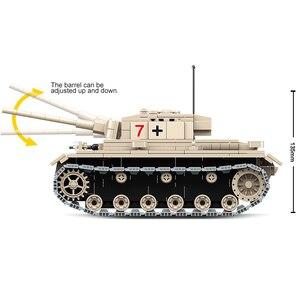 Image 5 - Tanque alemán militar pesado para niños, la técnica de bloques de construcción n. ° 3, bloques para armar tanque WW2, soldado de policía del ejército, juguetes de regalo para manualidades, 100067