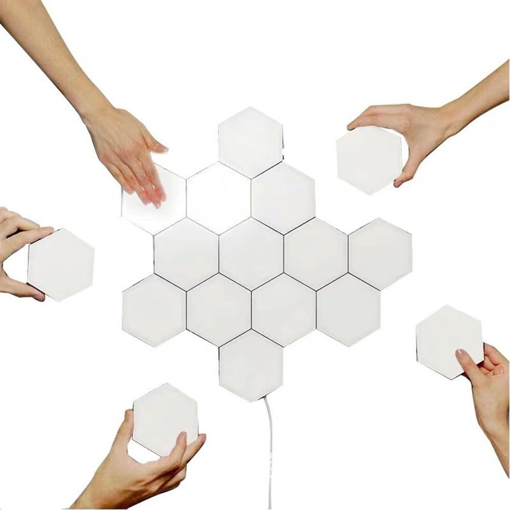 Hex LED White Night Light Panels Modern Quantum Smart Modular Touch Hexagon Wall Lights DIY Magnetic Lamp For Bedroom Decor