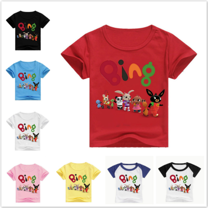 Toddler Kids Boys Girl Bing Rabbit Clothing Tops Summer Short Sleeve T-Shirts Baby Tops Clothes Cartoon Casual Costume Tee 2-14T