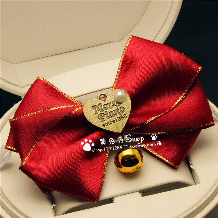 Pet Decorations Neck Ring Bell Butterfly Bowtie Cat Dog Teddy Large Dog Necklace Wang Coco Celebrity Style