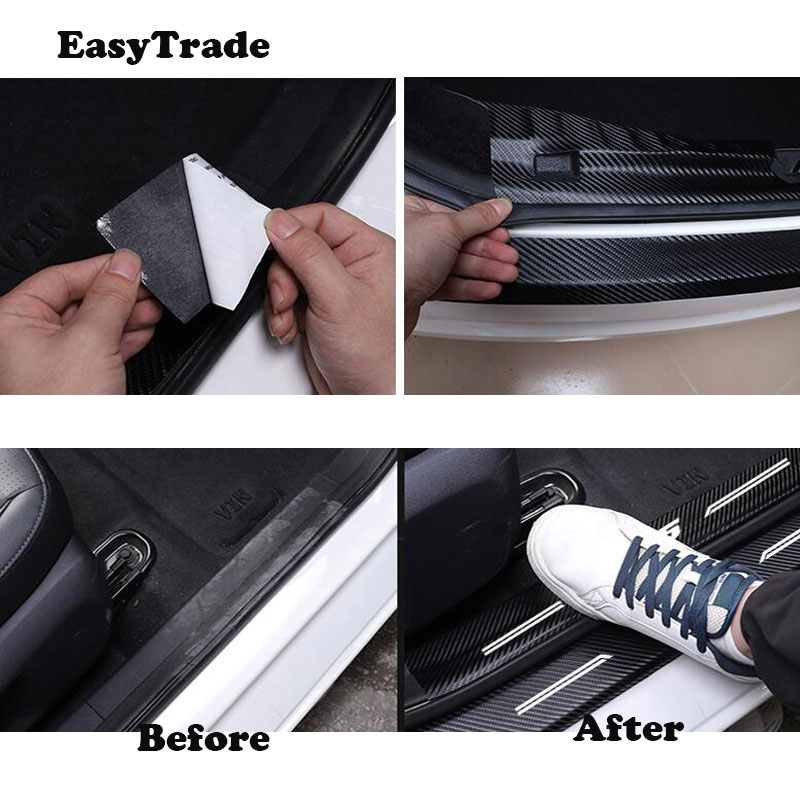 Car styling leather Rear Bumper Protector Sill Trunk Tread Plate Sticker For Hyundai Honda Civic 10th 2017 2018 Accessorioes in Interior Mouldings from Automobiles Motorcycles