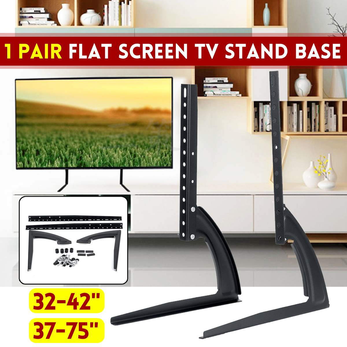 Universal LCD Flat Screen TV Table Top Mount Stand Base Black Fits For 32 Inch To 75 Inch