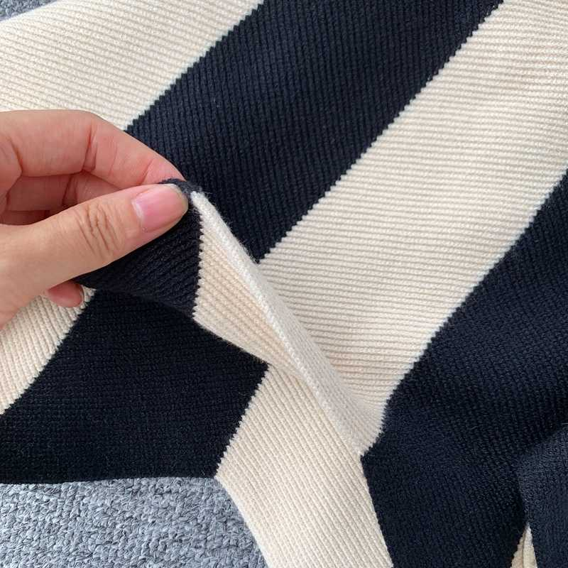Frauen Stricken Rock Gestreiften Farbe Blockiert Herbst Hohe Taille elastische A-linie Große Schaukel Röcke Japan Harajuku Weibliche Falda LS147