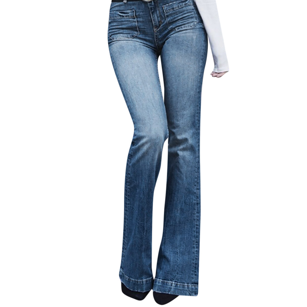 Women Autumn Elastic Plus Loose Denim Double Pocket Casual Boot Cut Pant Slim Flare Jeans Large size Fashion #Zer