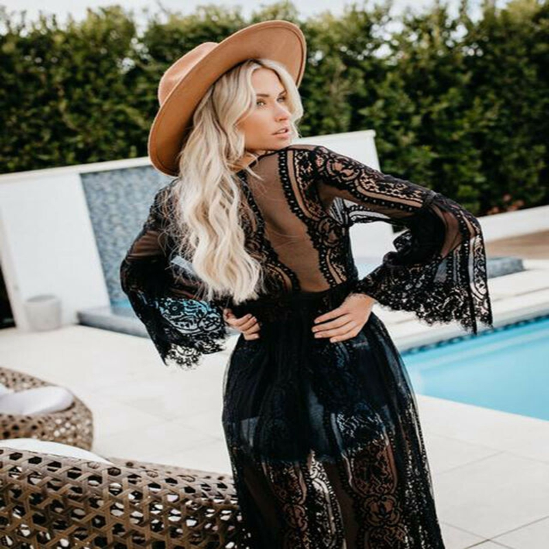 Womens Beach Bikini Cover Up Long Kaftan Lace Summer Crochet Maxi Dress Swimwear Lace Kimono Beach Cardigan Bikini Cover Up
