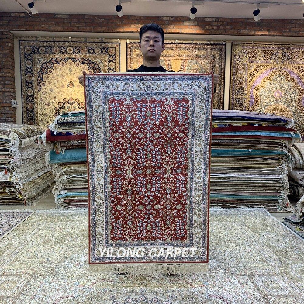 Yilong 2.5'x4' Red Turkish Rugs Traditional Hand Woven Luxury Silk Carpet (HF174B)|Rug| |  - title=